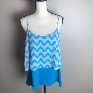 STRIPPED LAYERED CAREER TANK TOP BLUE & WHITE